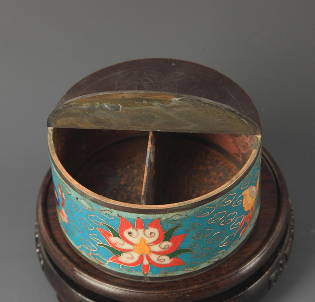 PAIR OF BRONZE CLOISONNE MAKE UP BOX - 2