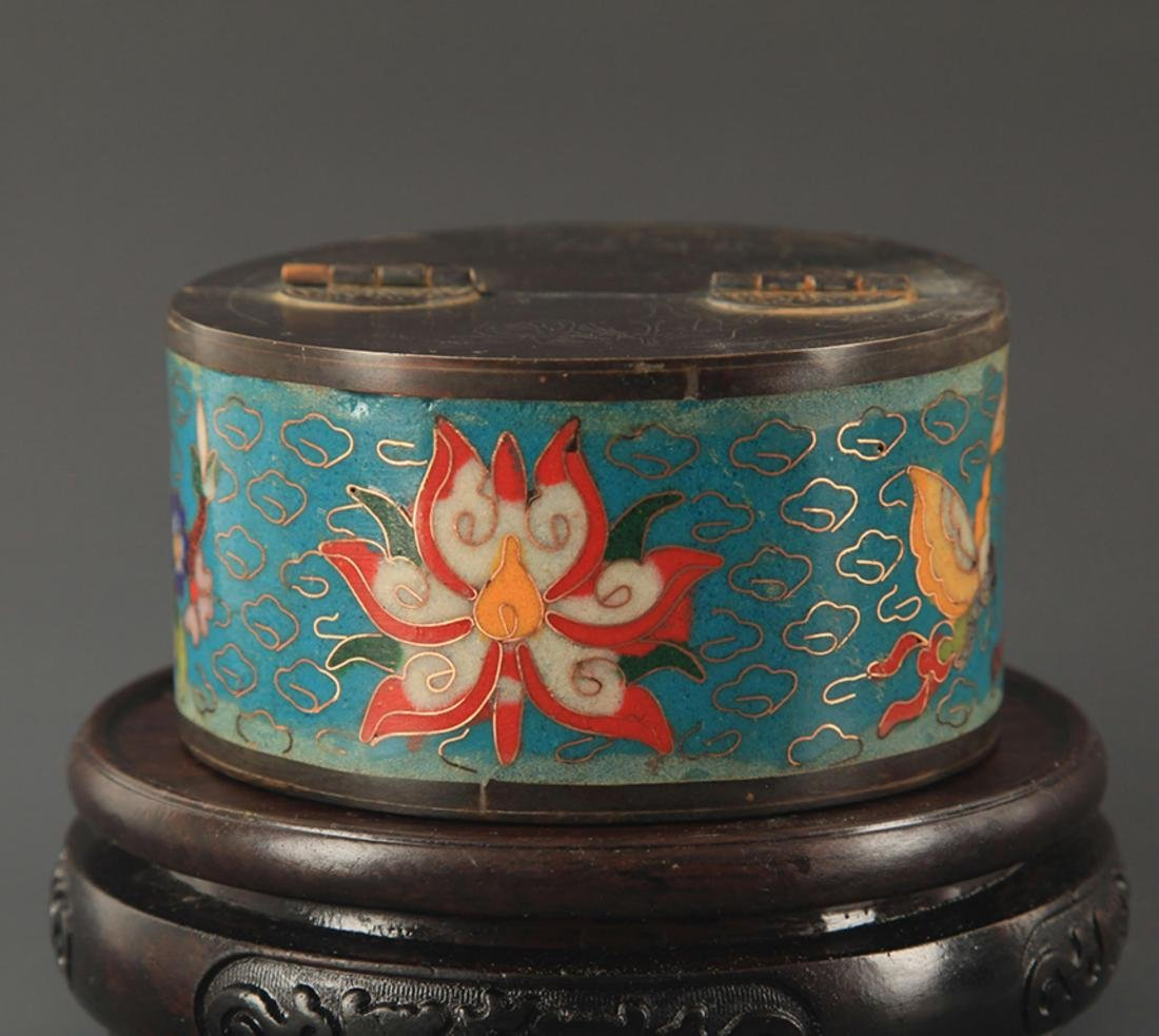 PAIR OF BRONZE CLOISONNE MAKE UP BOX - 4