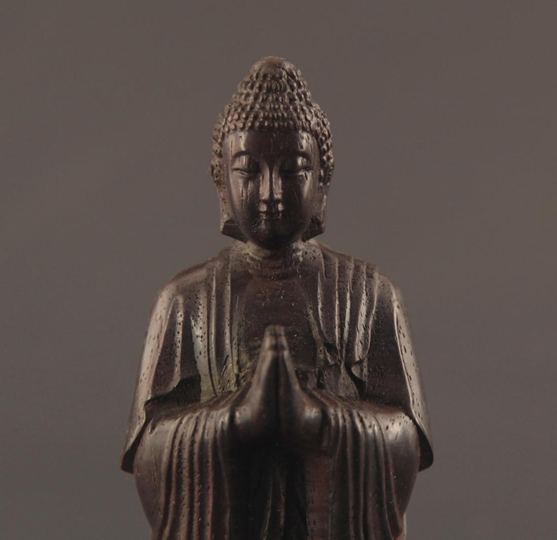 A SANDALWOOD GAUTAMA BUDDHA STATUE - 2