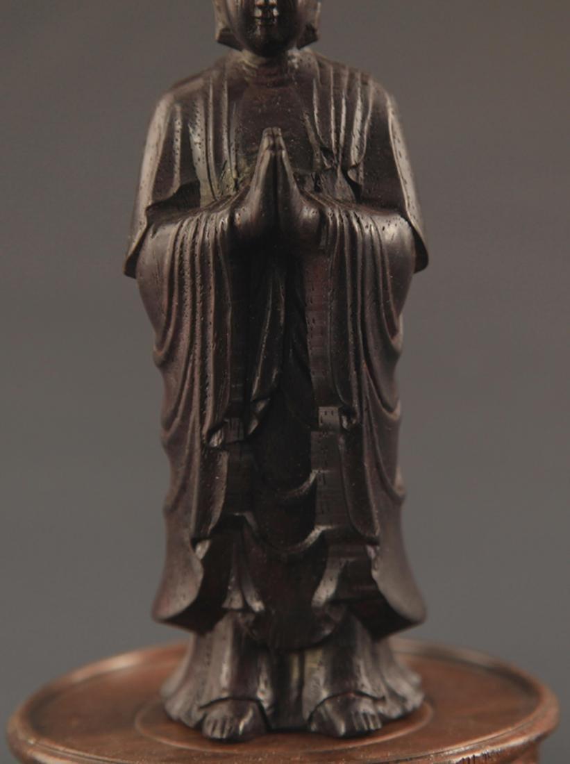 A SANDALWOOD GAUTAMA BUDDHA STATUE - 3