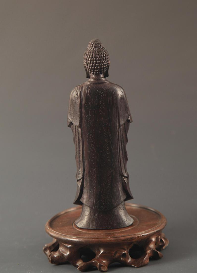A SANDALWOOD GAUTAMA BUDDHA STATUE - 4
