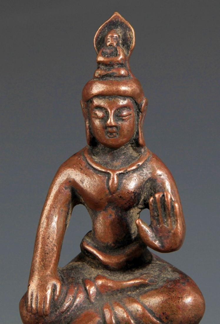 A SMALL BRONZE BUDDHA FIGURE - 2