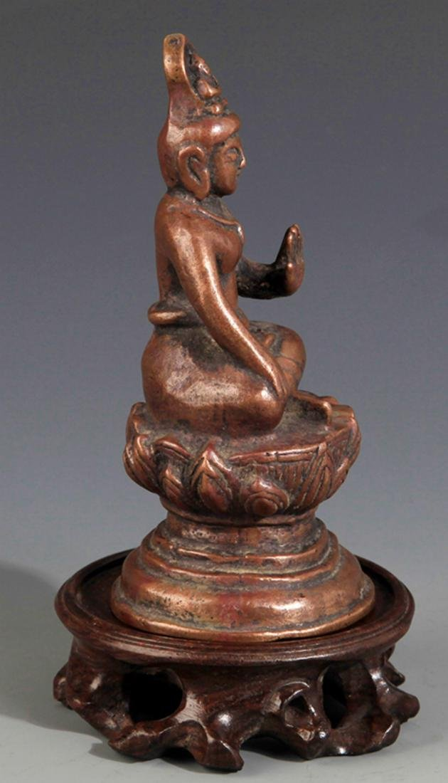 A SMALL BRONZE BUDDHA FIGURE - 4