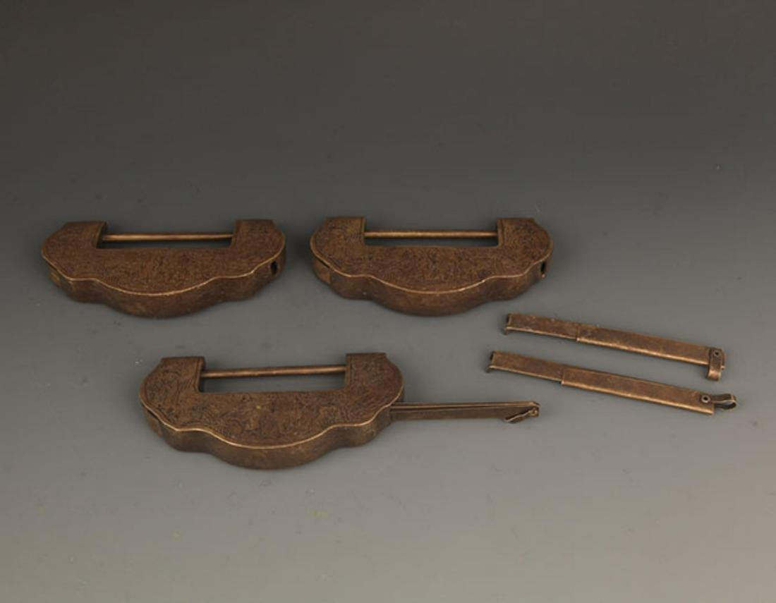 GROUP OF THREE OLD CHINESE LOCK WITH KEY