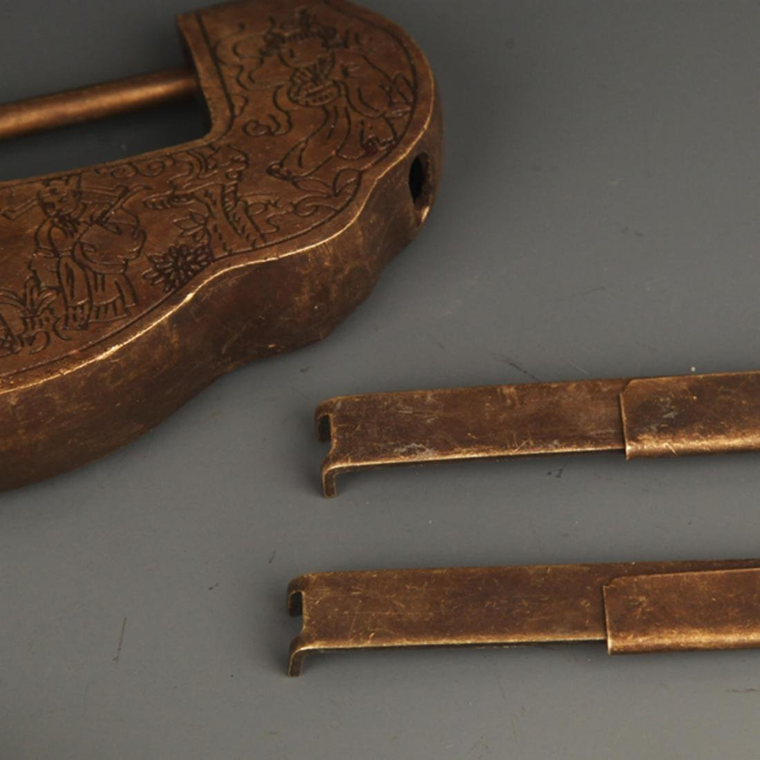 GROUP OF THREE OLD CHINESE LOCK WITH KEY - 3