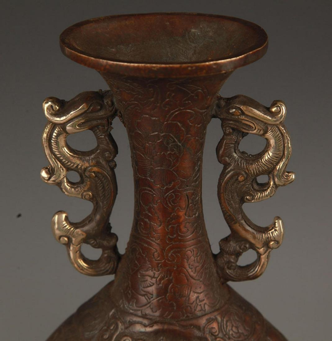 A CHARACTER PATTERN DOUBLE DRAGON BRONZE VASE - 2