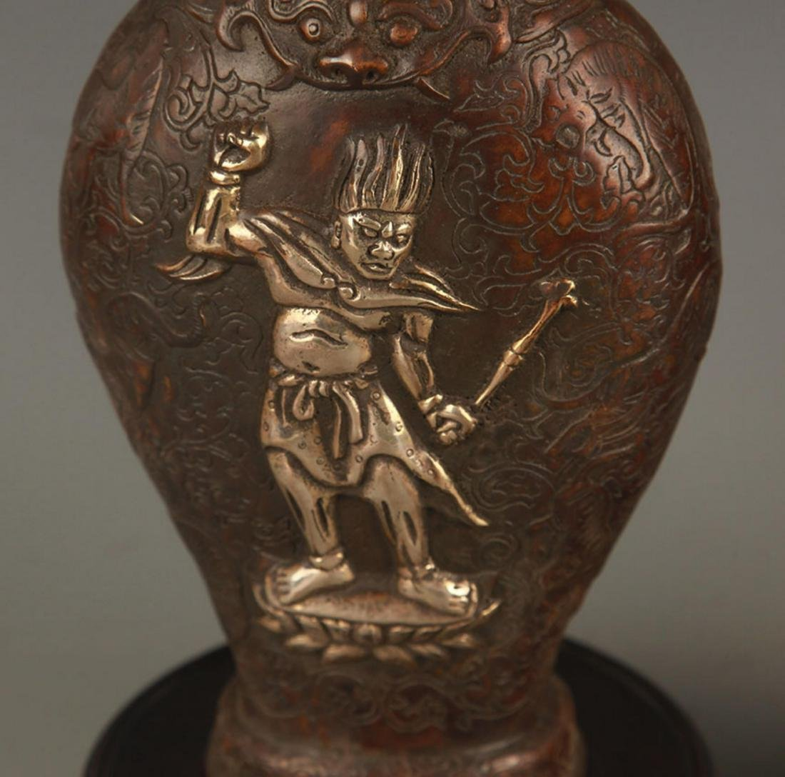 A CHARACTER PATTERN DOUBLE DRAGON BRONZE VASE - 3