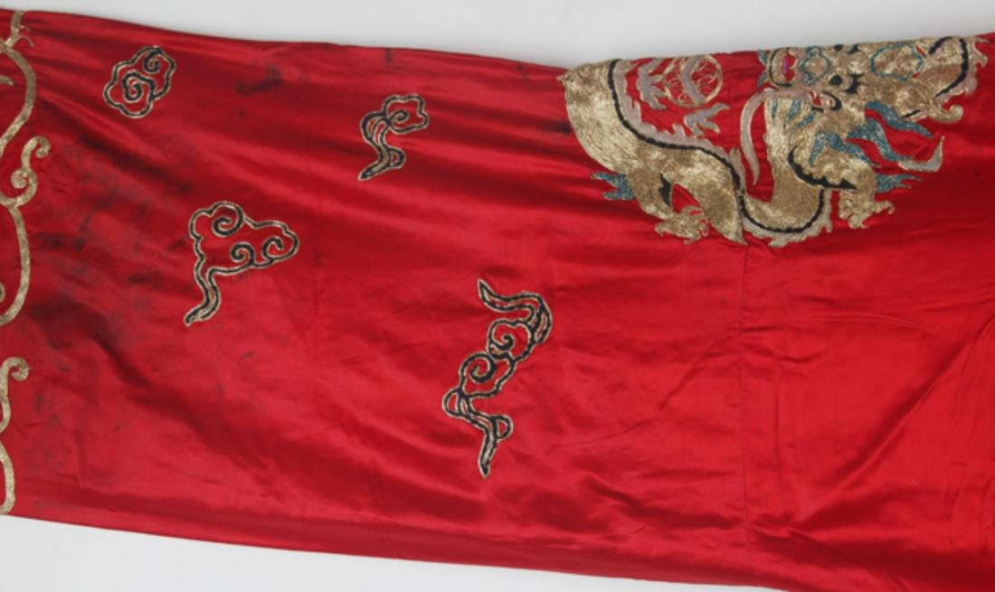 A RED COLOR SMALL DRAGON EMBROIDERED ROBE - 4