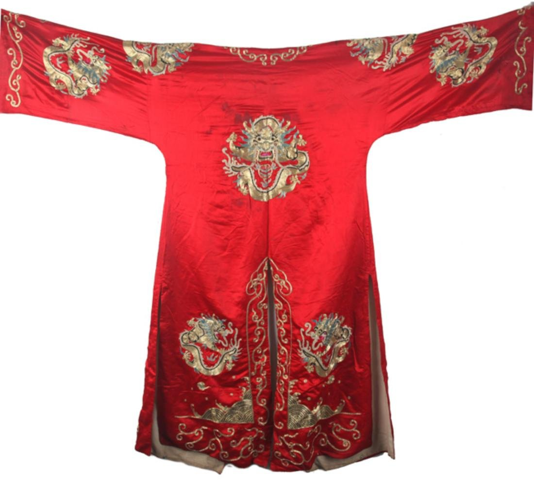 A RED COLOR SMALL DRAGON EMBROIDERED ROBE - 6