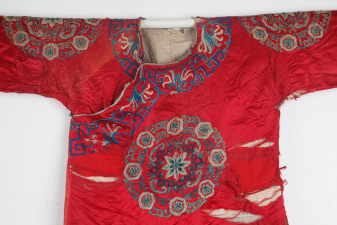 A FINE RED COLOR EMBROIDERED ROBE - 2