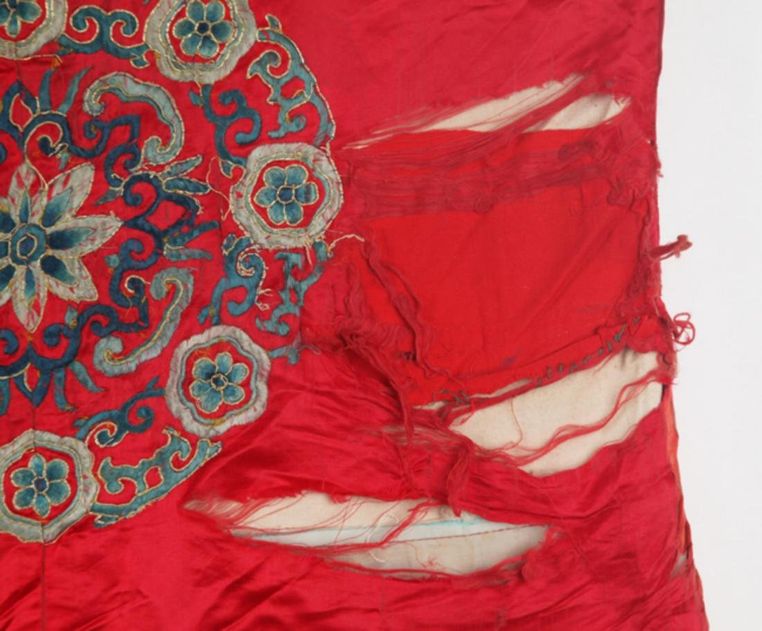 A FINE RED COLOR EMBROIDERED ROBE - 5