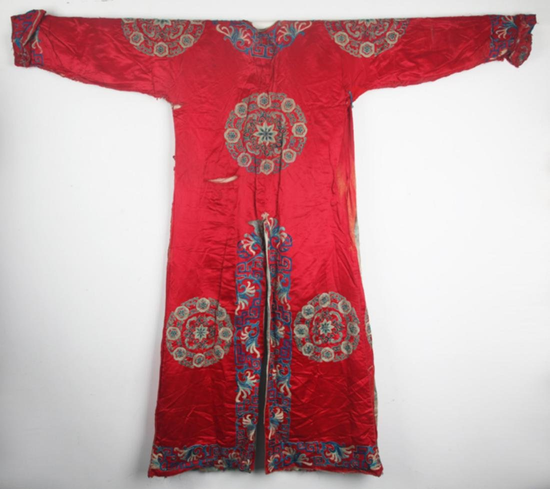 A FINE RED COLOR EMBROIDERED ROBE - 6