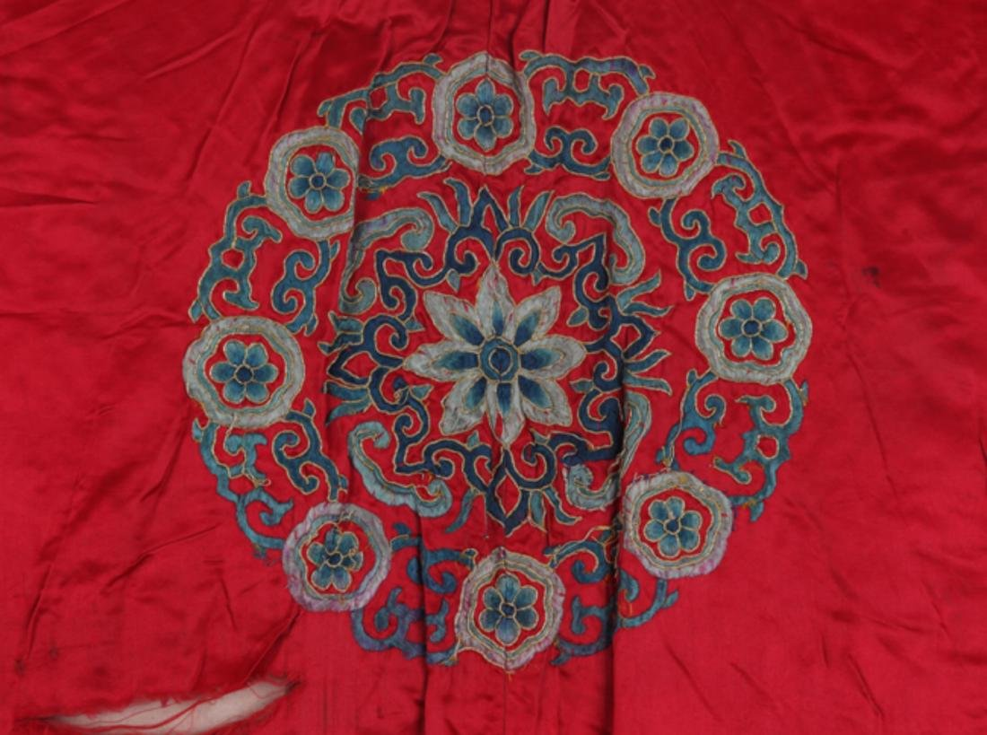 A FINE RED COLOR EMBROIDERED ROBE - 7