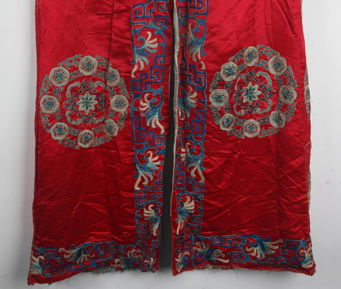 A FINE RED COLOR EMBROIDERED ROBE - 9