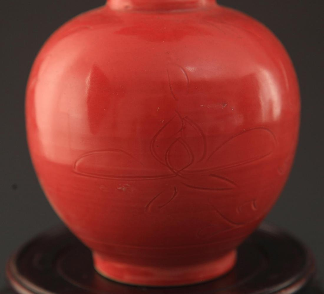 "A ""DING YAO"" RED COLOR LONG NECK JAR - 4"