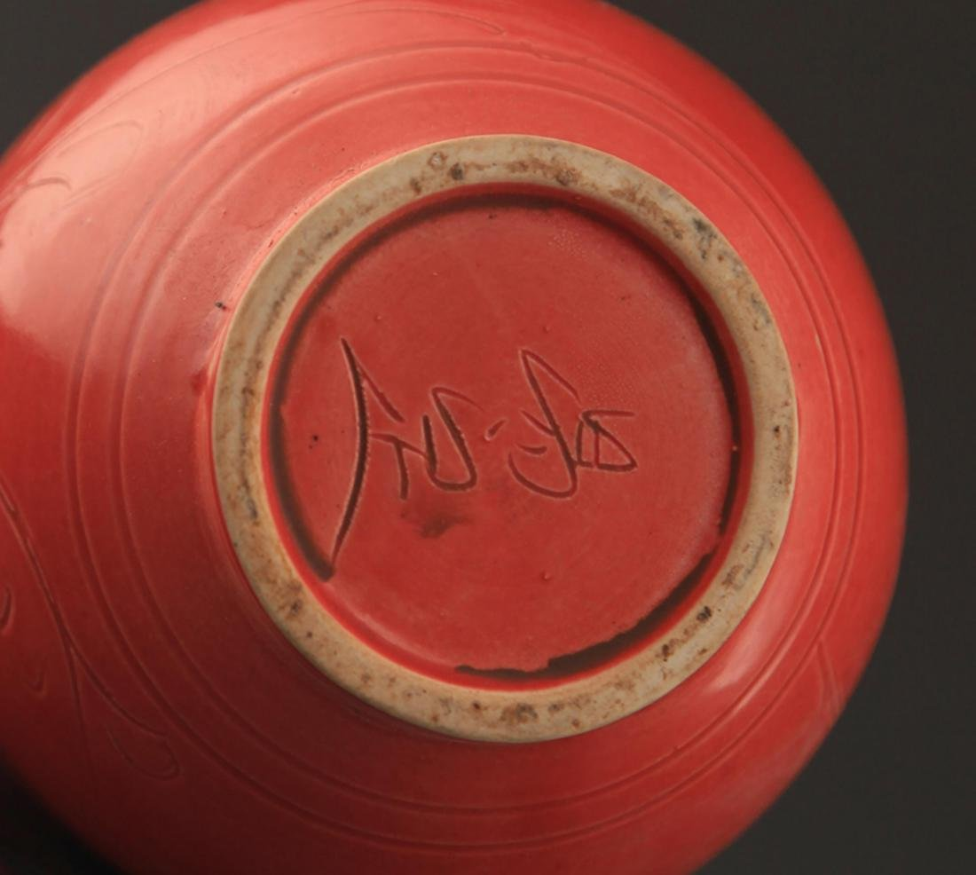 "A ""DING YAO"" RED COLOR LONG NECK JAR - 6"