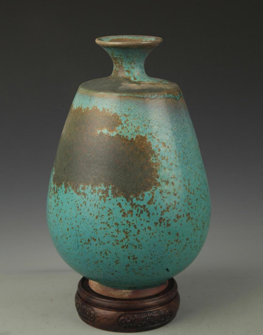 A LU JUN GLAZE PORCELAIN DECORATION VASE - 4