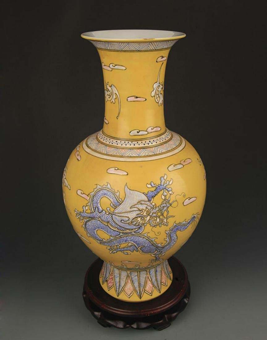 YELLOW GROUND FAMILLE ROSE DRAGON PATTERN VASE