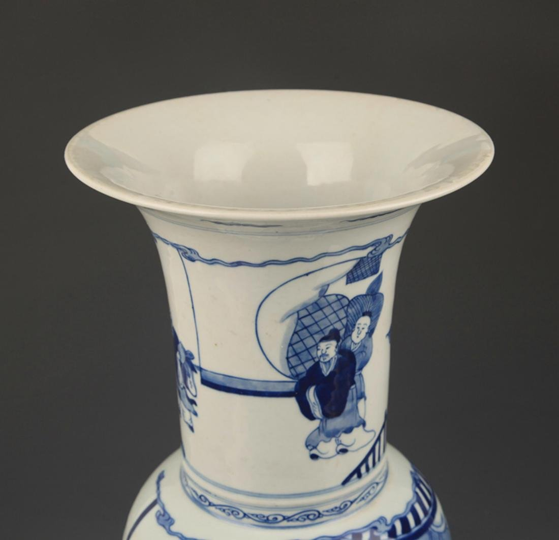 BLUE AND WHITE STORY PAINTED PORCELAIN VASE - 2