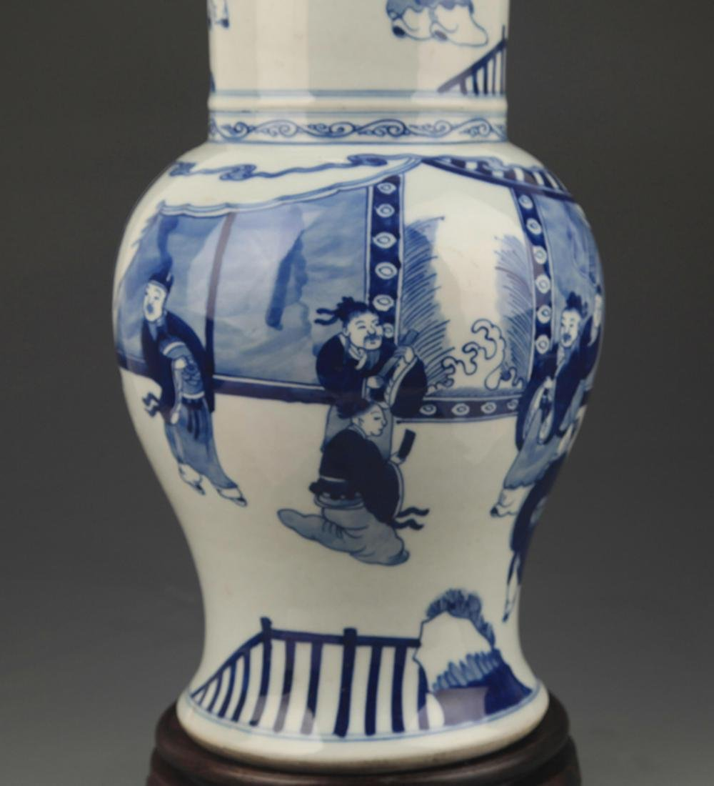 BLUE AND WHITE STORY PAINTED PORCELAIN VASE - 3