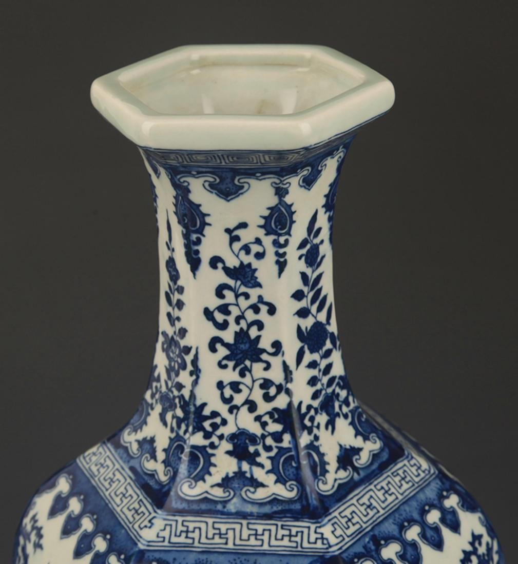 BLUE AND WHITE FLOWER PATTERN SIX SIDED VASE - 2