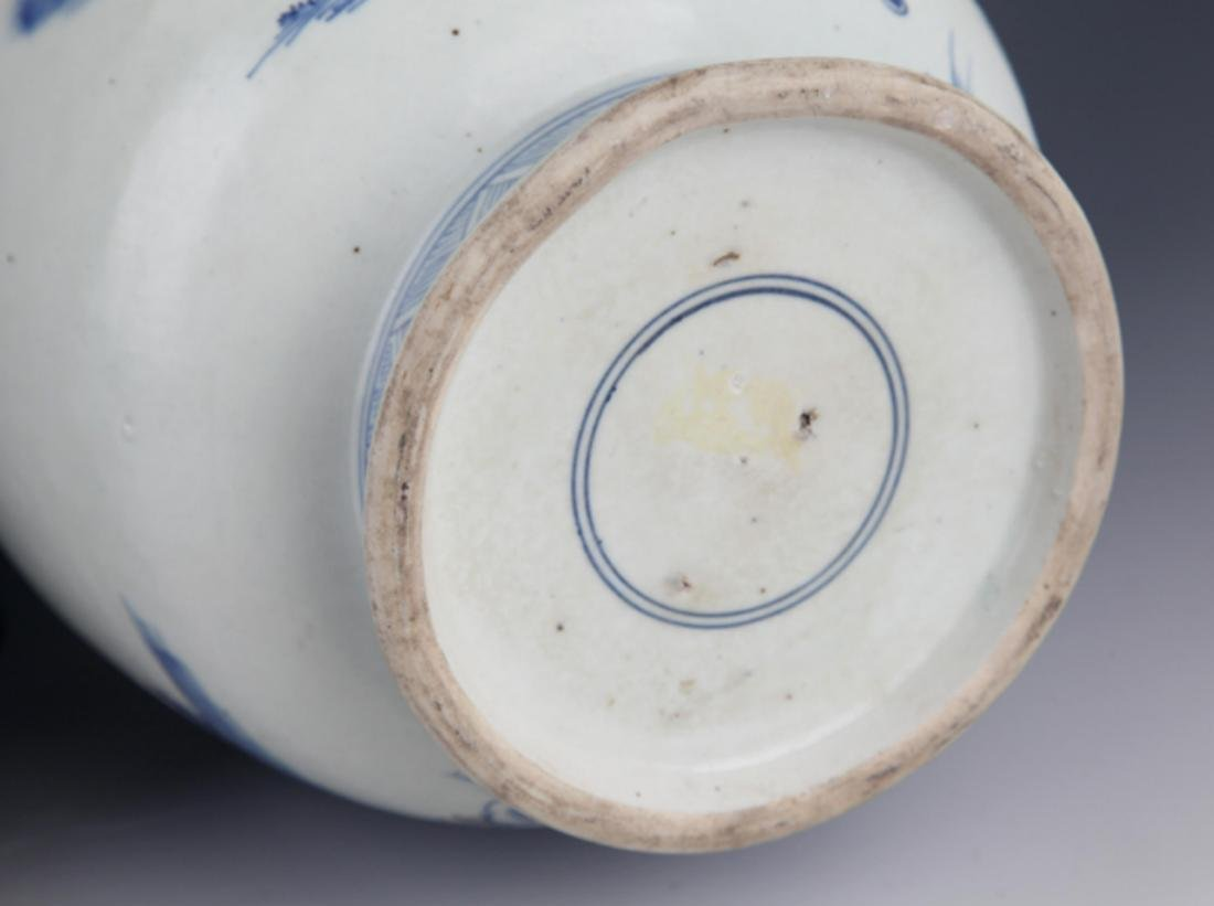 A FINELY PAINTED BLUE AND WHITE PORCELAIN JAR - 4