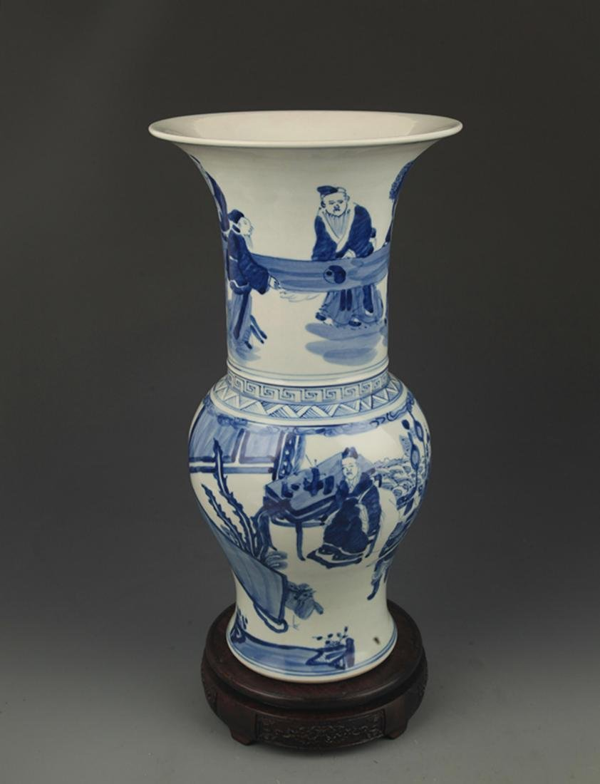 BLUE AND WHITE STORY PATTERN PORCELAIN FLOWER JAR