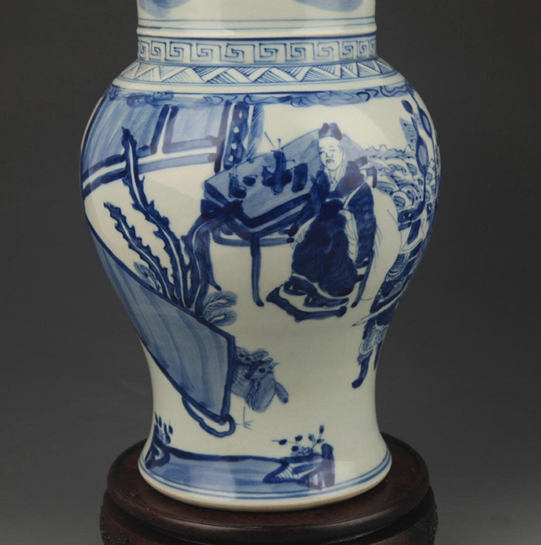 BLUE AND WHITE STORY PATTERN PORCELAIN FLOWER JAR - 3