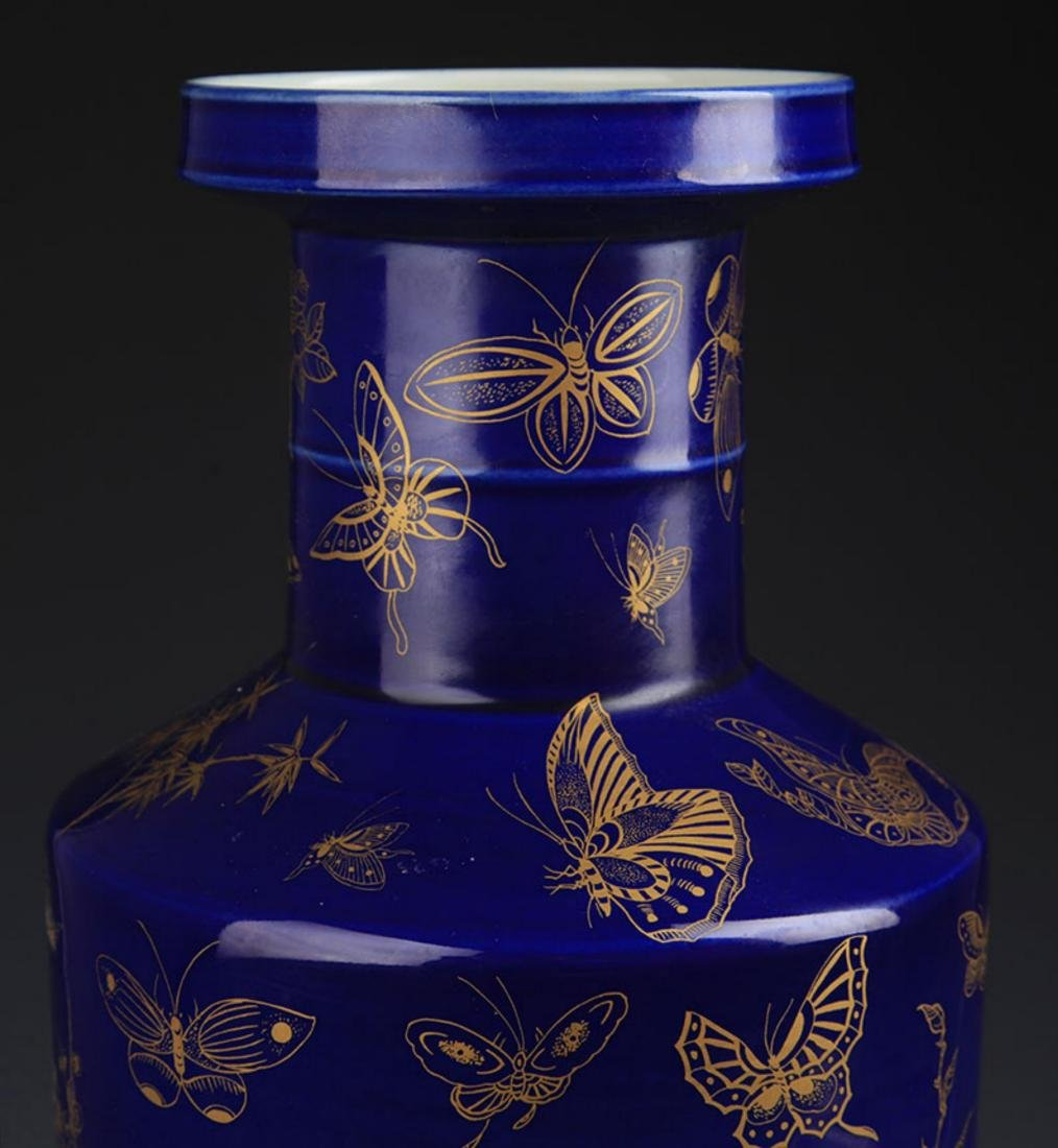A DEEP BLUE GROUND, SPRINKLE GOLD WOOD CLUB STYLE VASE - 3