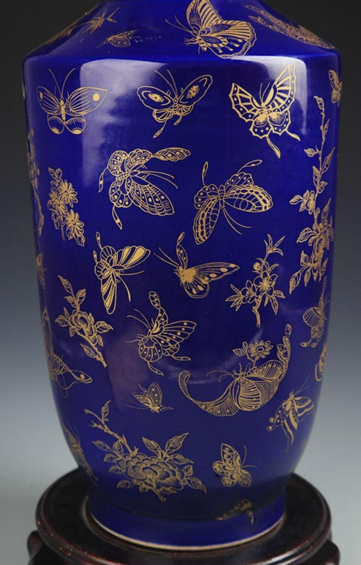 A DEEP BLUE GROUND, SPRINKLE GOLD WOOD CLUB STYLE VASE - 4