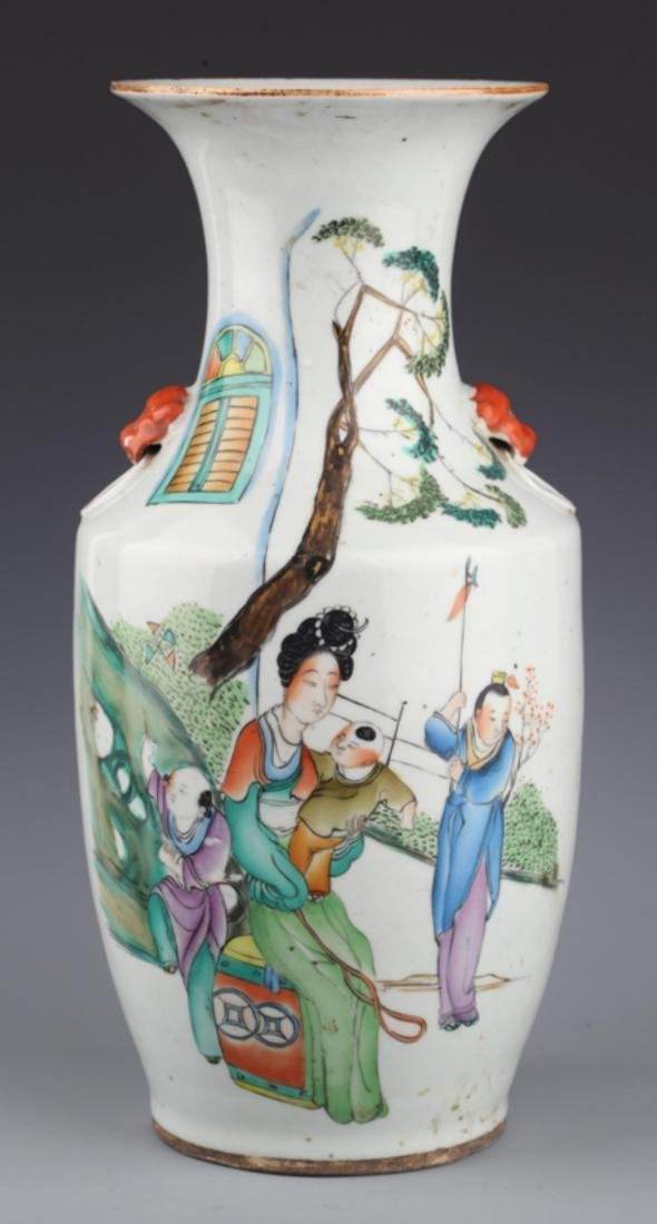 A FINE FAMILLE ROSE STORY PAINTING PORCELAIN JAR