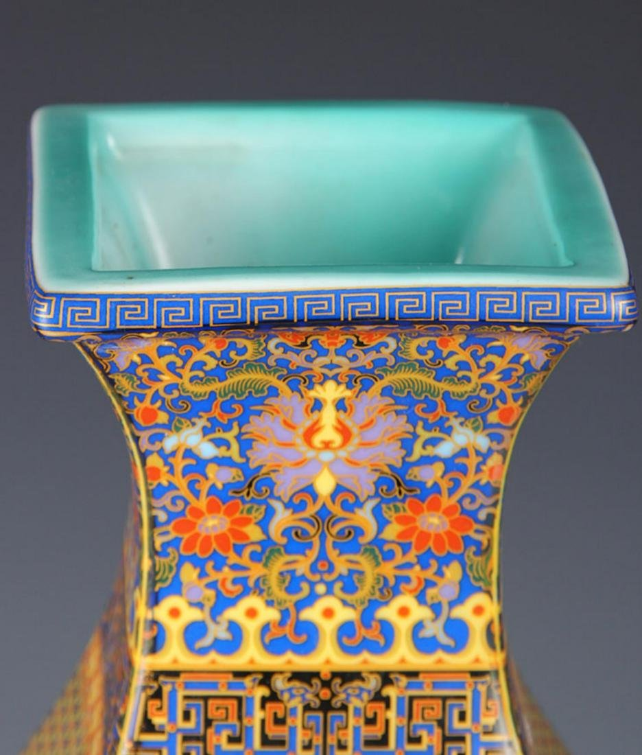 FAIENCE COLOR FOUR IMMORTAL SQUIRE VASE - 2