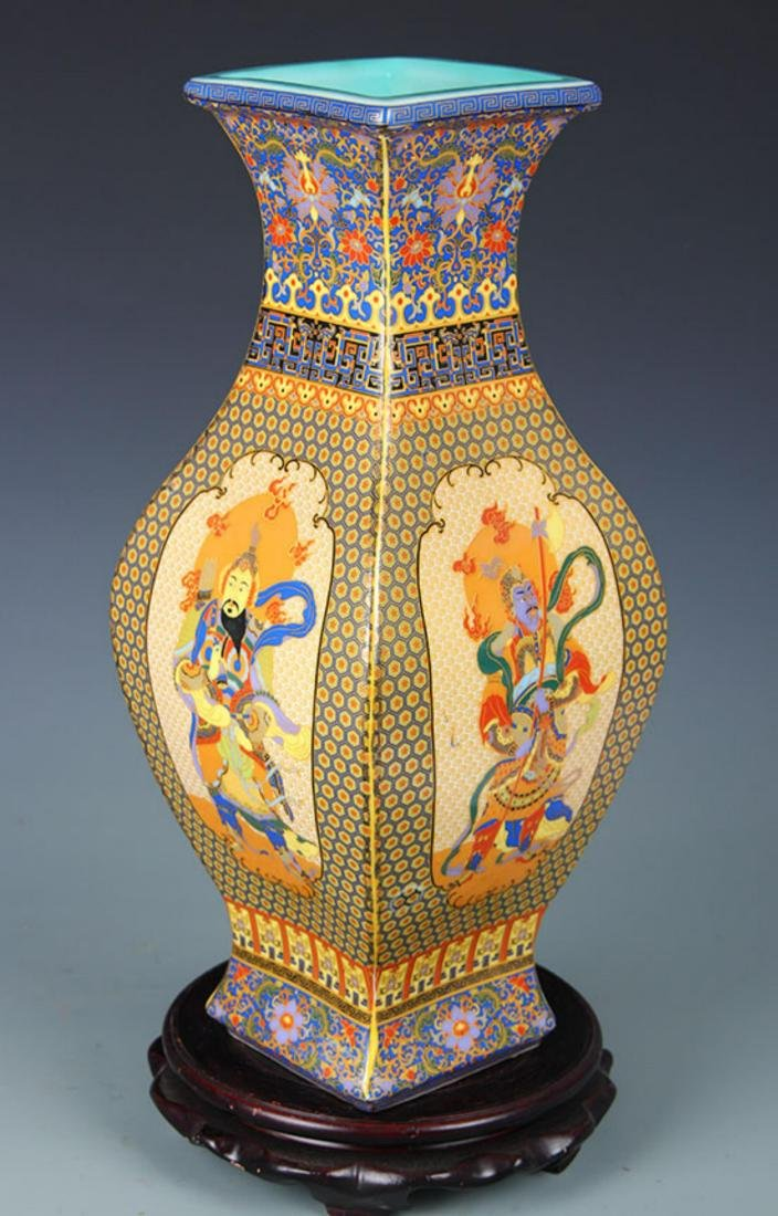 FAIENCE COLOR FOUR IMMORTAL SQUIRE VASE - 4