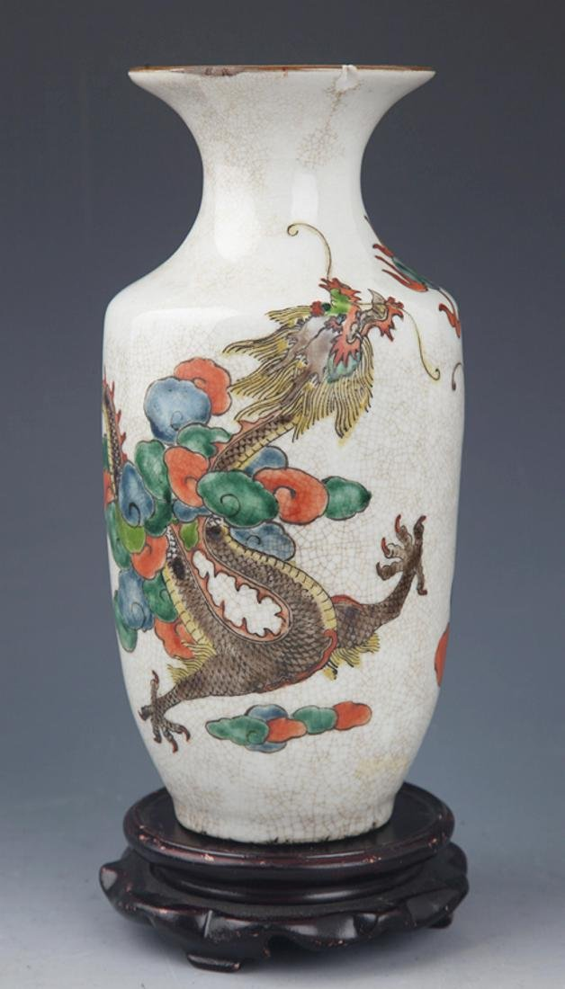 A GE-TYPE GLAZED DRAGON PAINTING PORCELAIN BOTTLE