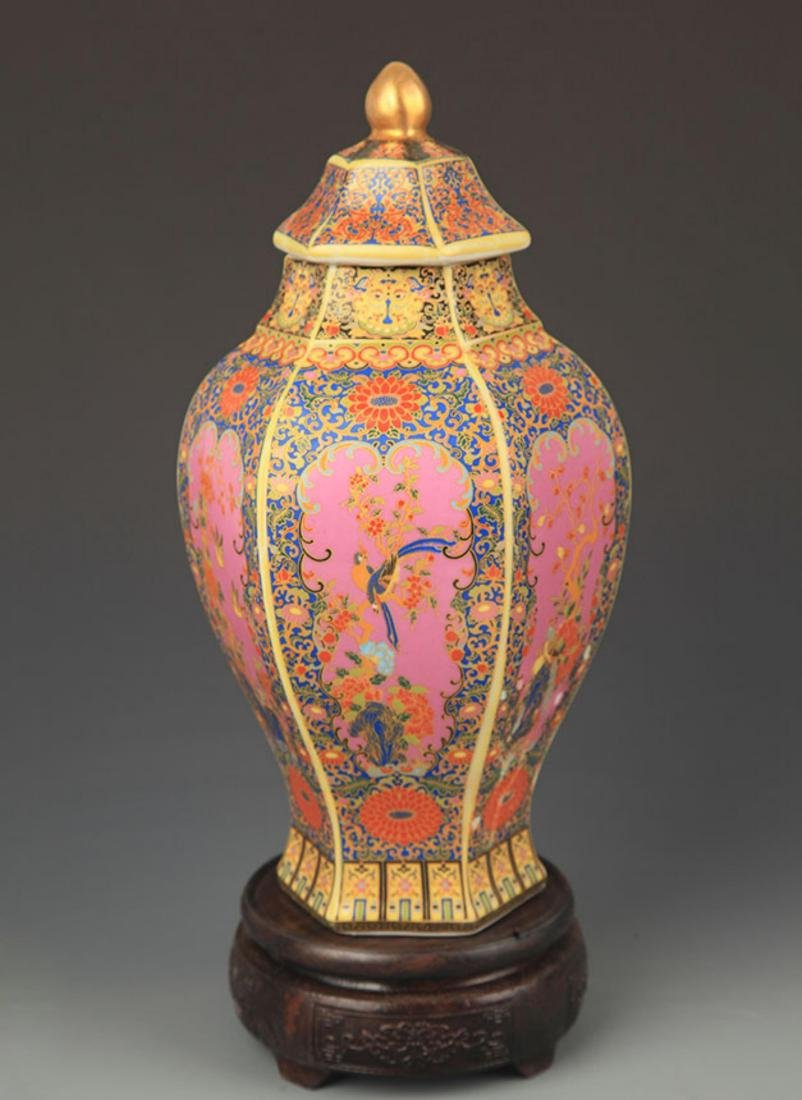 FAIENCE COLOR FLOWER AND BIRD SIX SIDE VASE