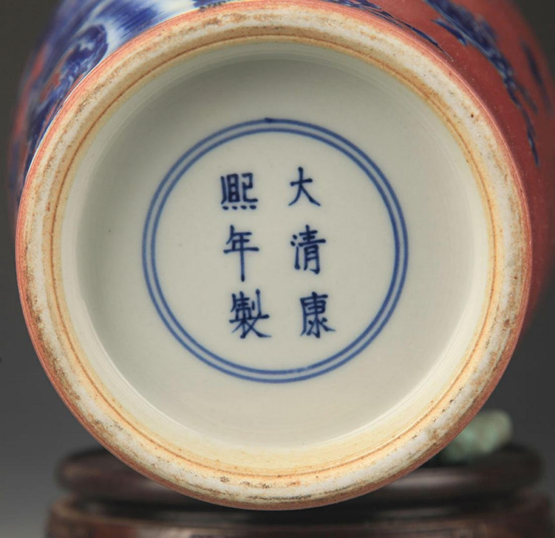 A RED COLOR GLAZED BLUE AND WHITE PATTERN GUAN YIN VASE - 5
