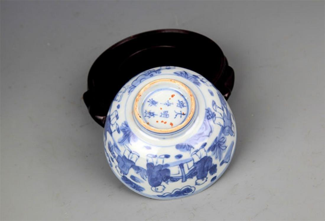 A FINE BLUE AND WHITE BOY PATTERN PORCELAIN BOWL - 4