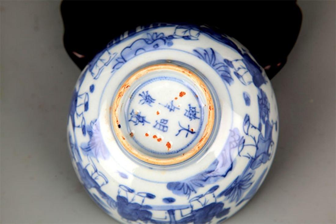 A FINE BLUE AND WHITE BOY PATTERN PORCELAIN BOWL - 5
