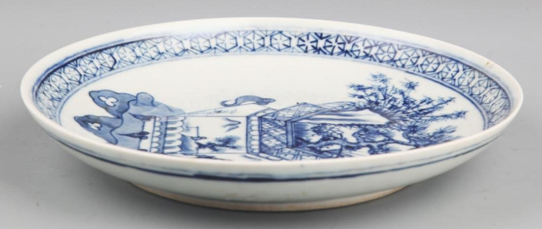 A FINELY PAINTED BLUE AND WHITE PORCELAIN PLATE - 2