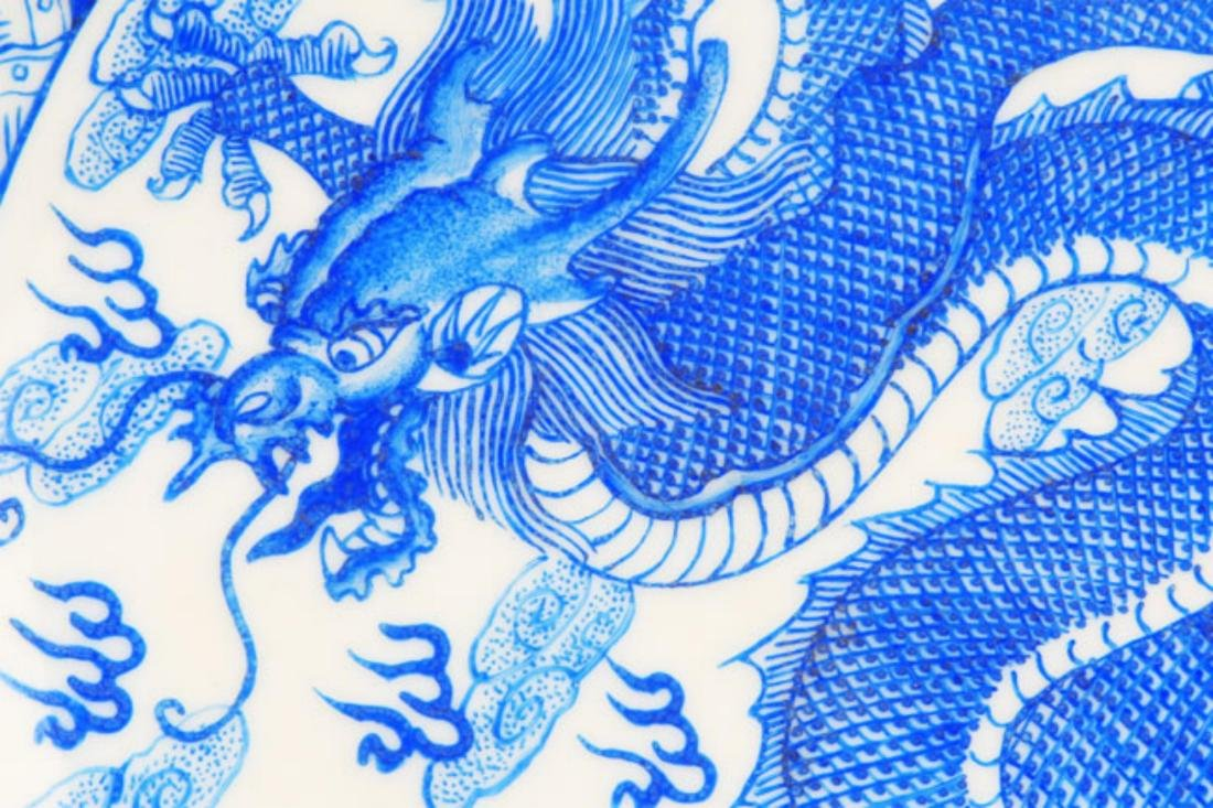 PAIR OF TWO DRAGON PAINTED PORCELAIN PLATE - 2