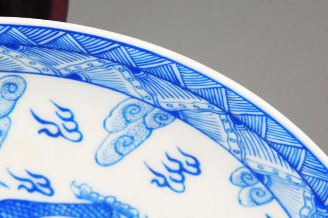 PAIR OF TWO DRAGON PAINTED PORCELAIN PLATE - 5