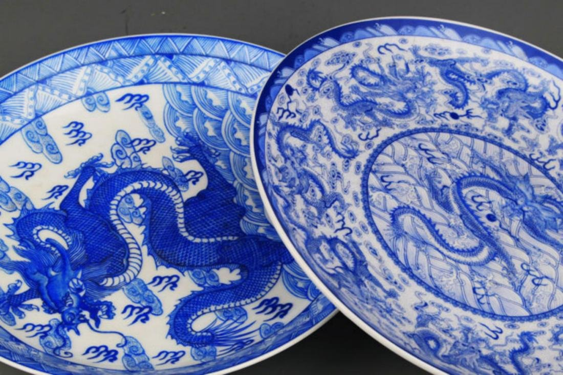 PAIR OF TWO DRAGON PAINTED PORCELAIN PLATE - 6