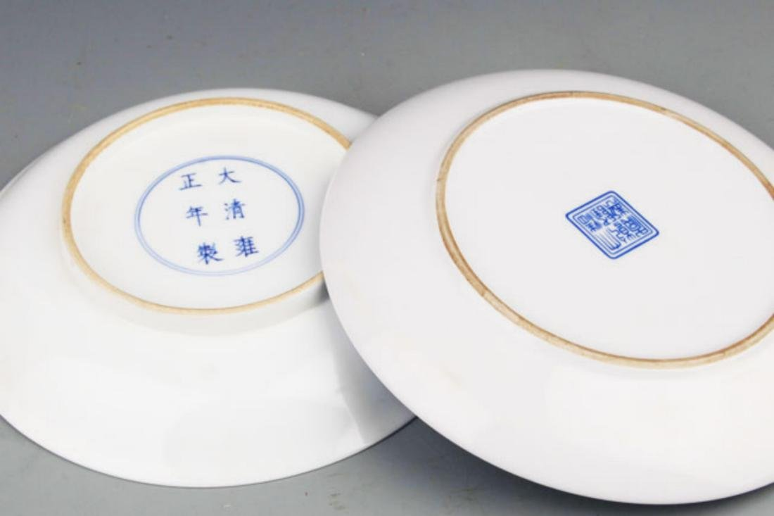 PAIR OF TWO DRAGON PAINTED PORCELAIN PLATE - 7