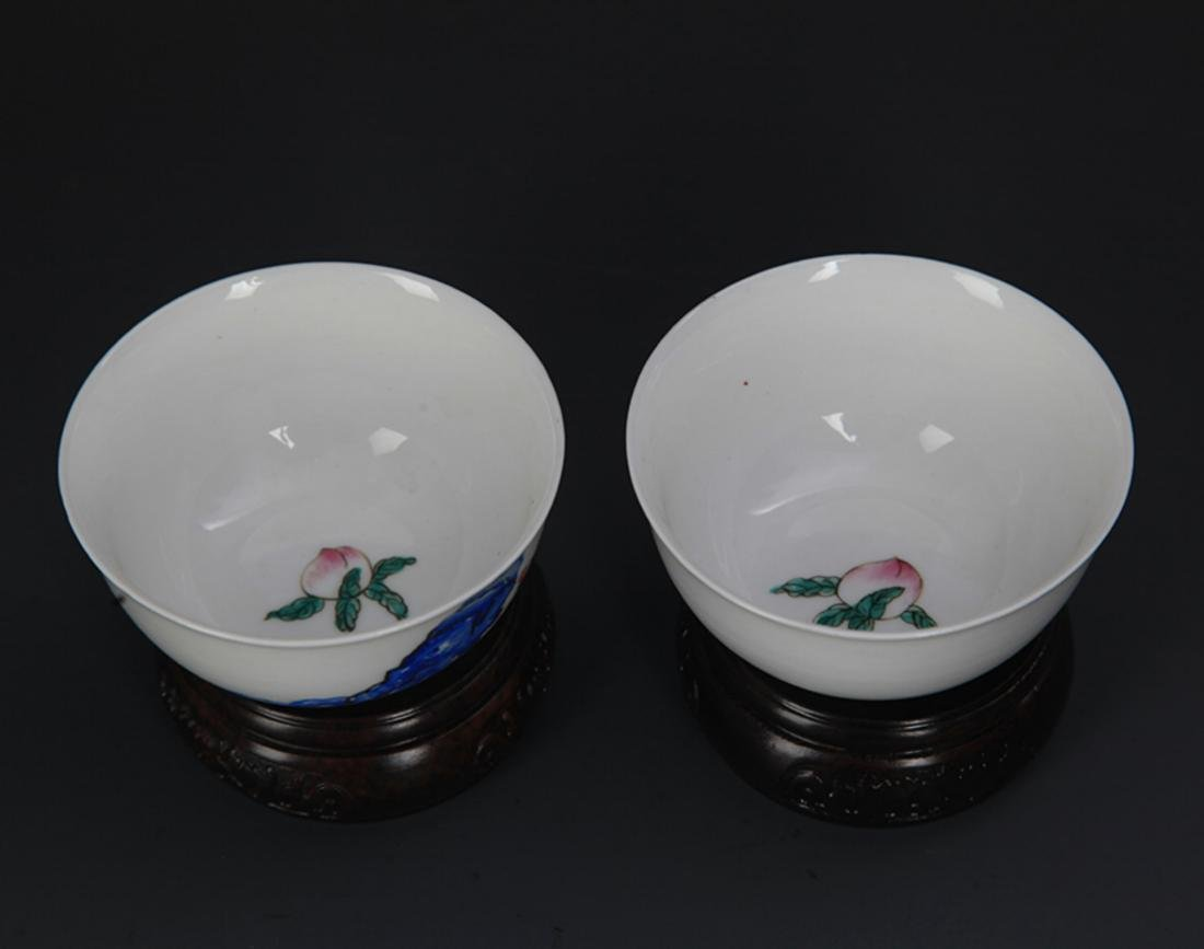 PAIR OF FAMILLE ROSE PORCELAIN CHICKEN CUP - 3