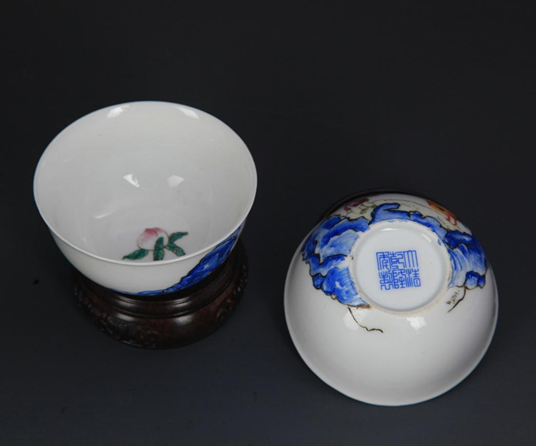 PAIR OF FAMILLE ROSE PORCELAIN CHICKEN CUP - 4
