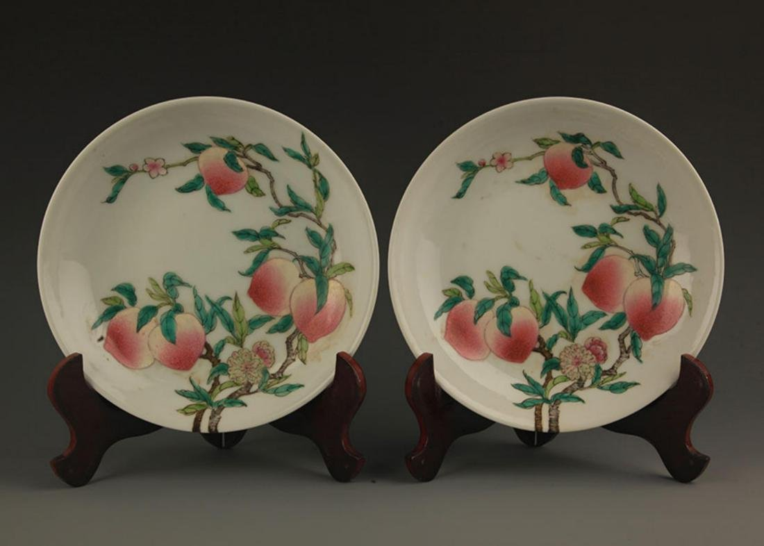 PAIR OF FAMILLE-ROSE PEACH PLATE