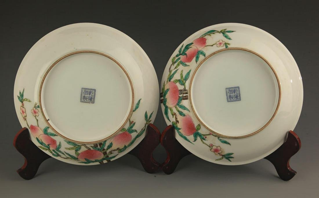PAIR OF FAMILLE-ROSE PEACH PLATE - 3