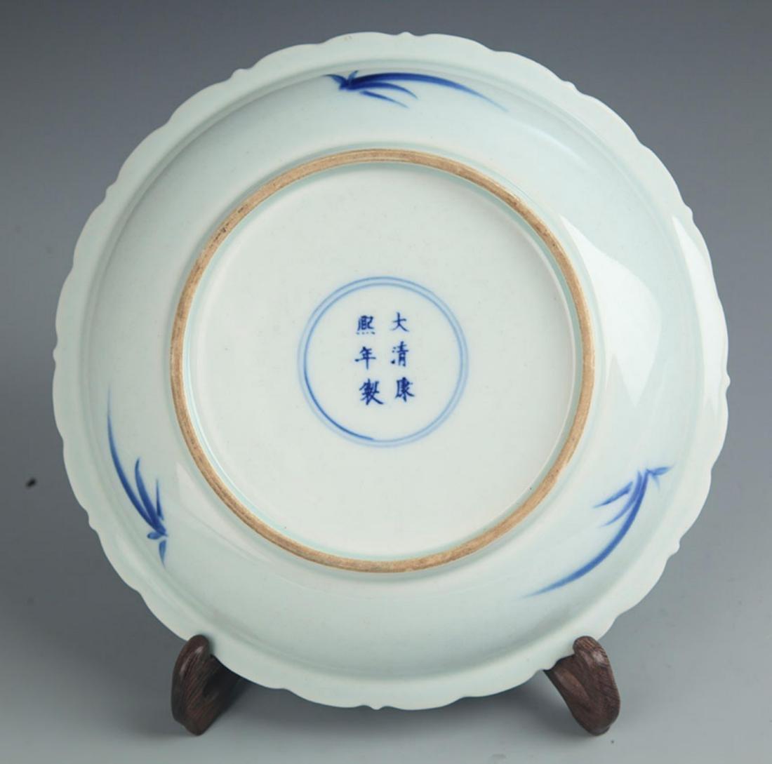 "A FINE BLUE AND WHITE ""BAT"" PORCELAIN PLATE - 3"