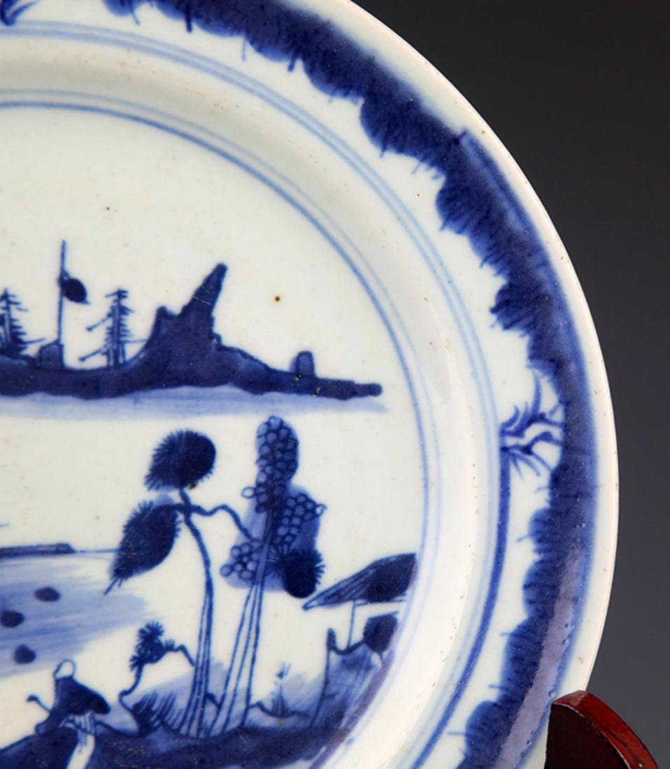 TWO FINELY PAINTED BLUE AND WHITE PORCELAIN PLATE - 10