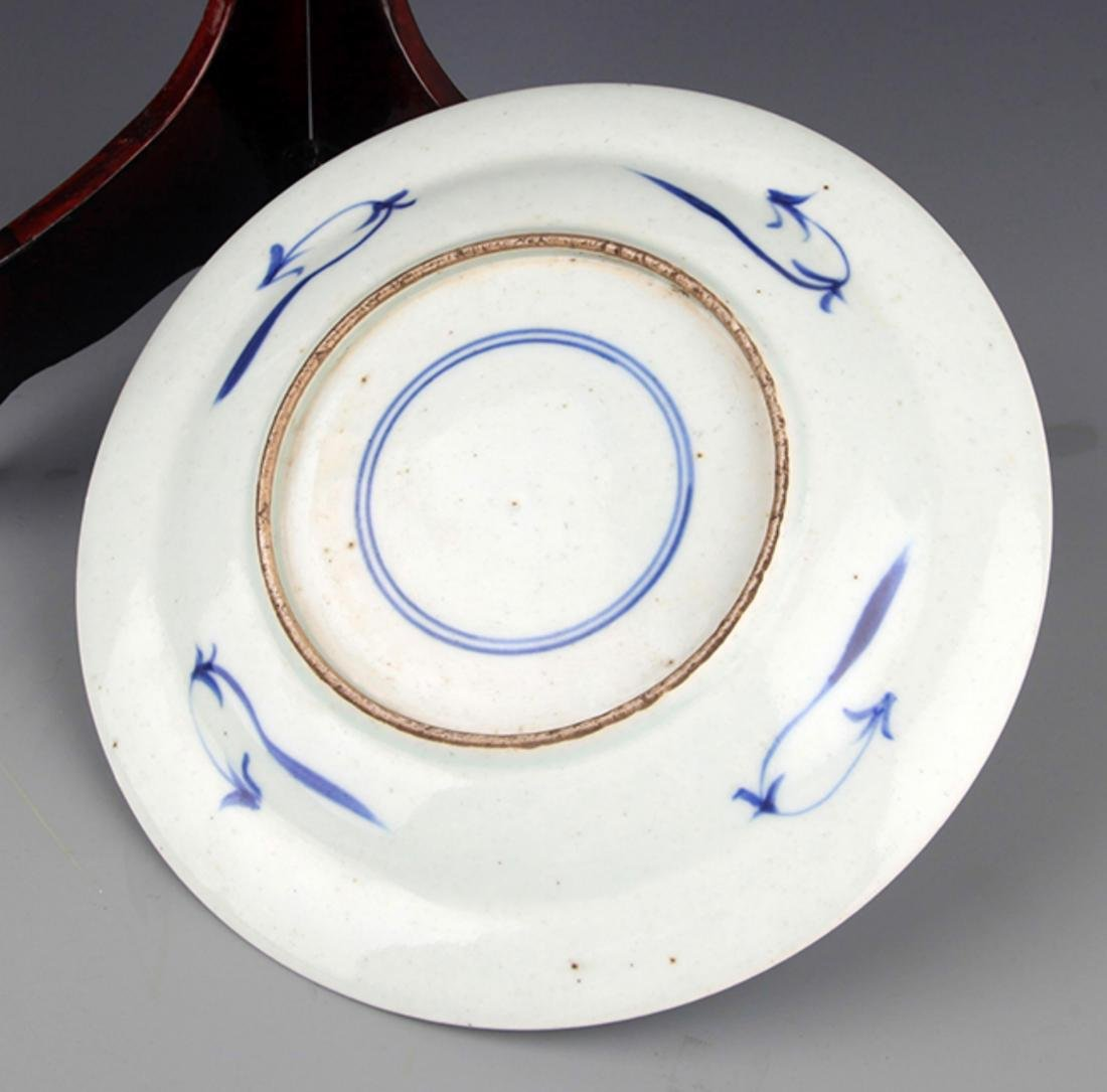 TWO FINELY PAINTED BLUE AND WHITE PORCELAIN PLATE - 2